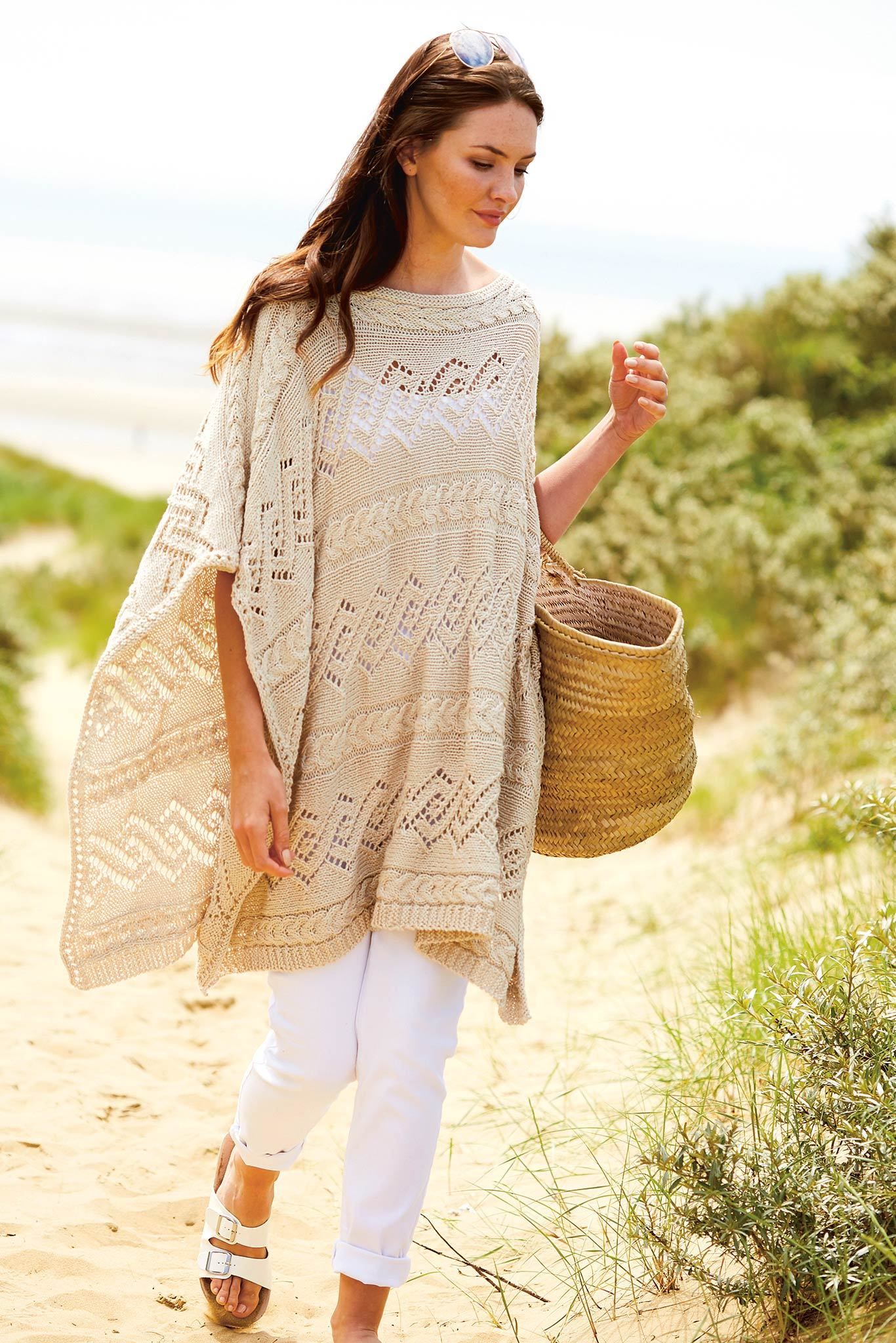 Womens Cable Poncho Knitting Pattern – The Knitting Network