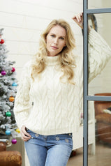 Women's Roll Neck Soft Cable Sweater Knitting Pattern