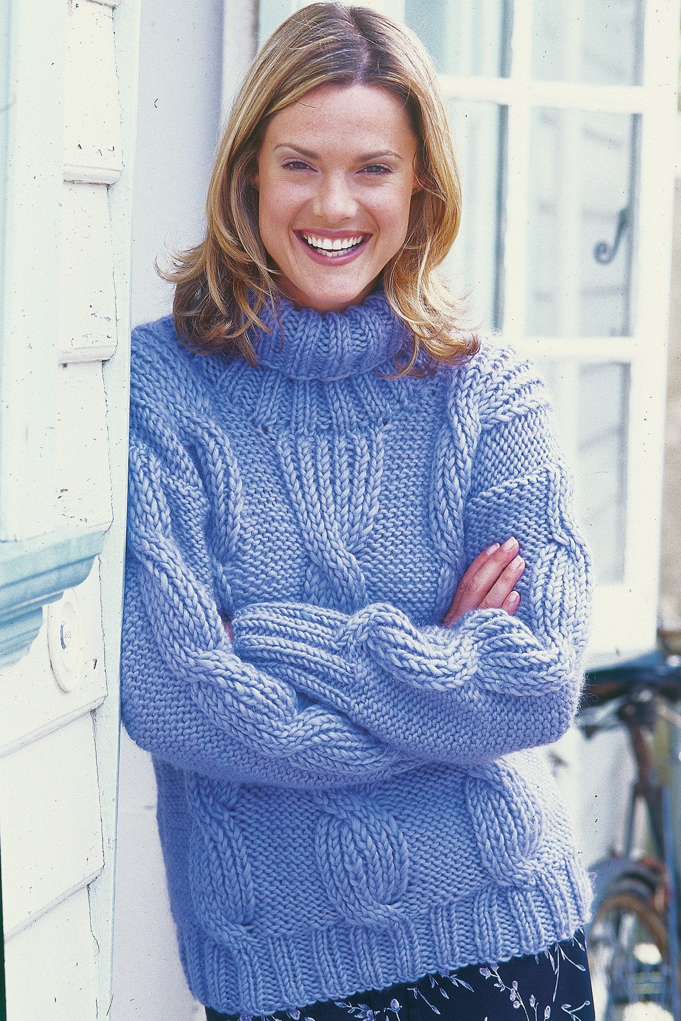 Womens Cable Roll Neck Jumper Knitting Pattern – The Knitting Network