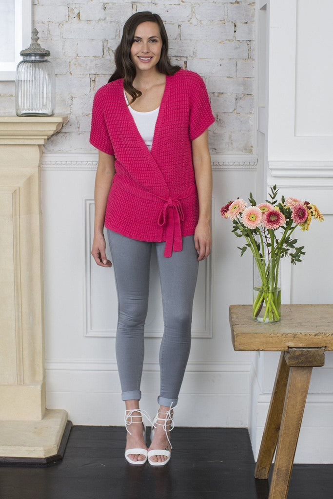 Bright pink short-sleeved ladies' cardigan with waist tie