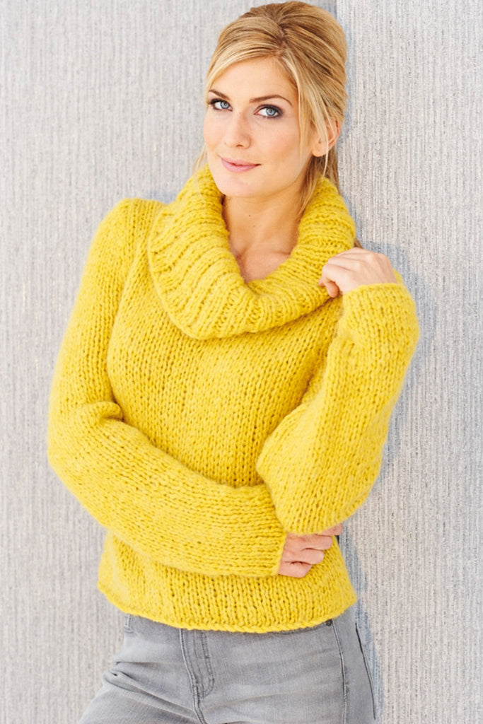 Womens Chunky Cowl Neck Jumper Knitting Pattern - The ...