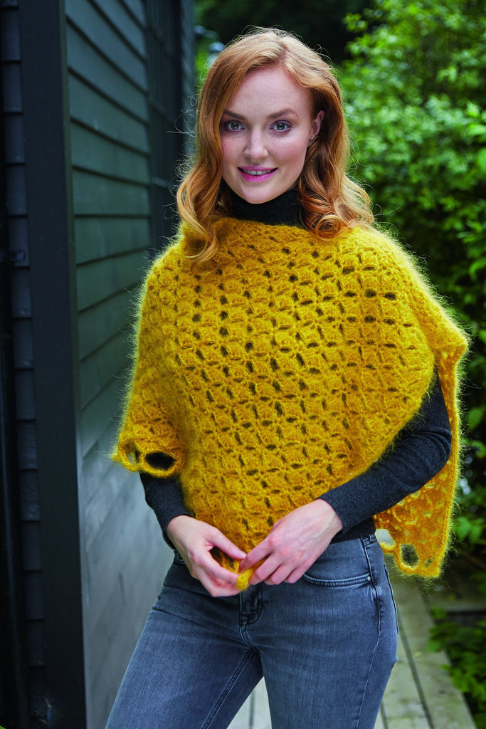 Mustard yellow crocheted top for women