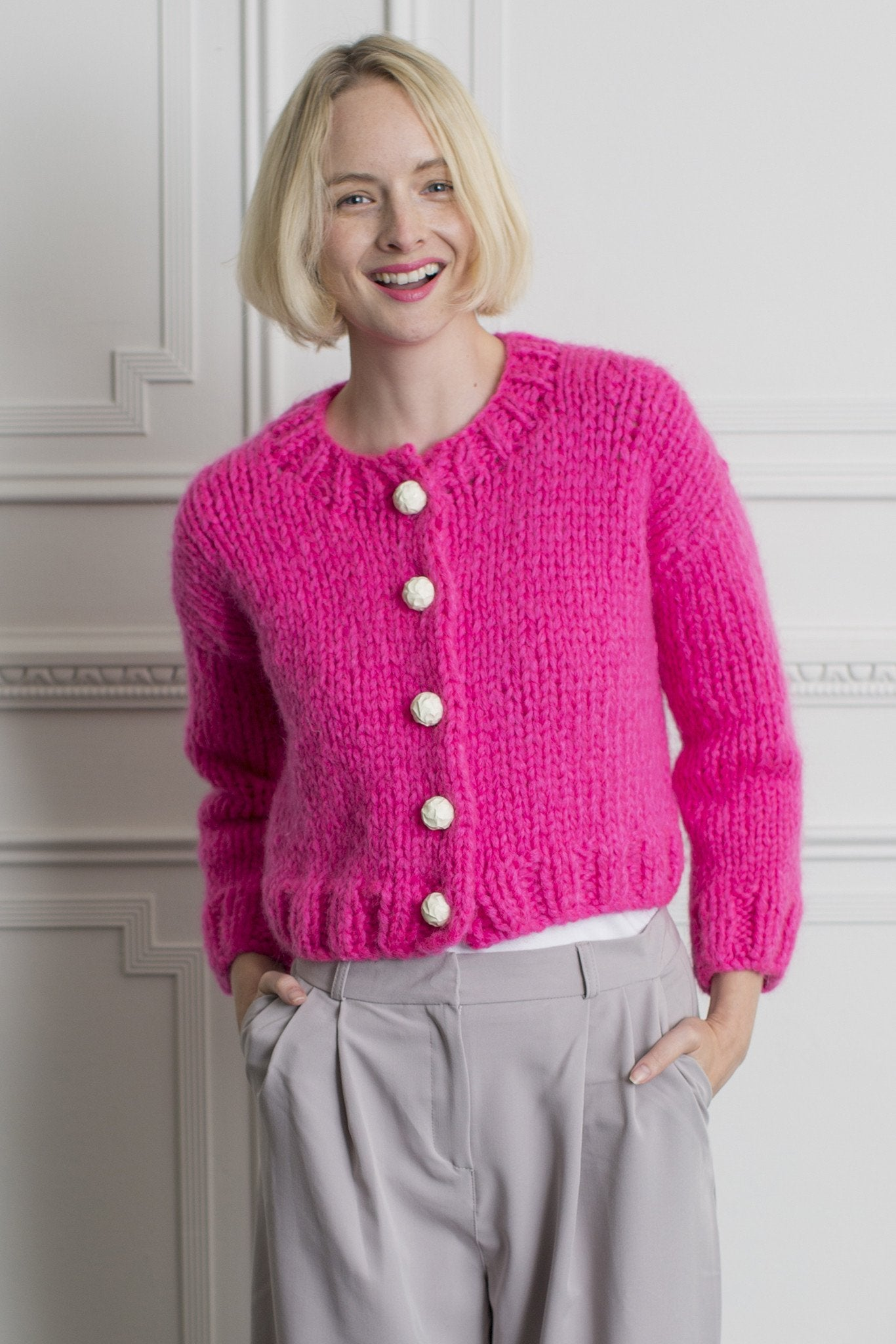 Womens Cropped Cardigan Knitting Pattern – The Knitting Network