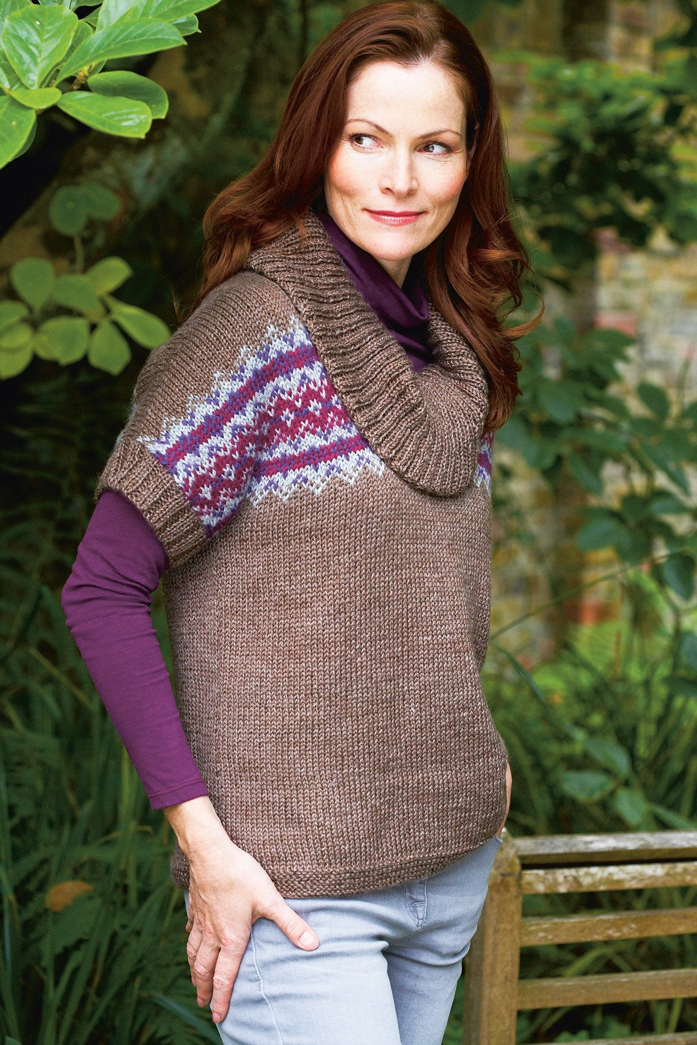 Womens Fair Isle Cowl Neck Top Knitting Pattern – The Knitting Network