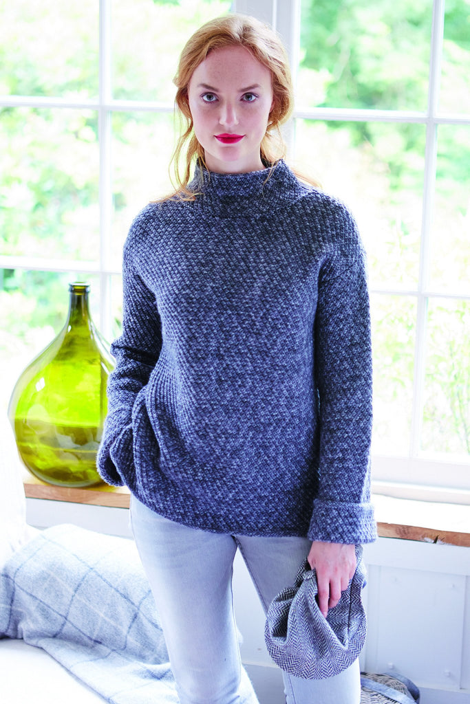 Lions Brand Free Knitting Patterns : Womens Funnel-Neck Jumper Knitting Pattern   The Knitting Network