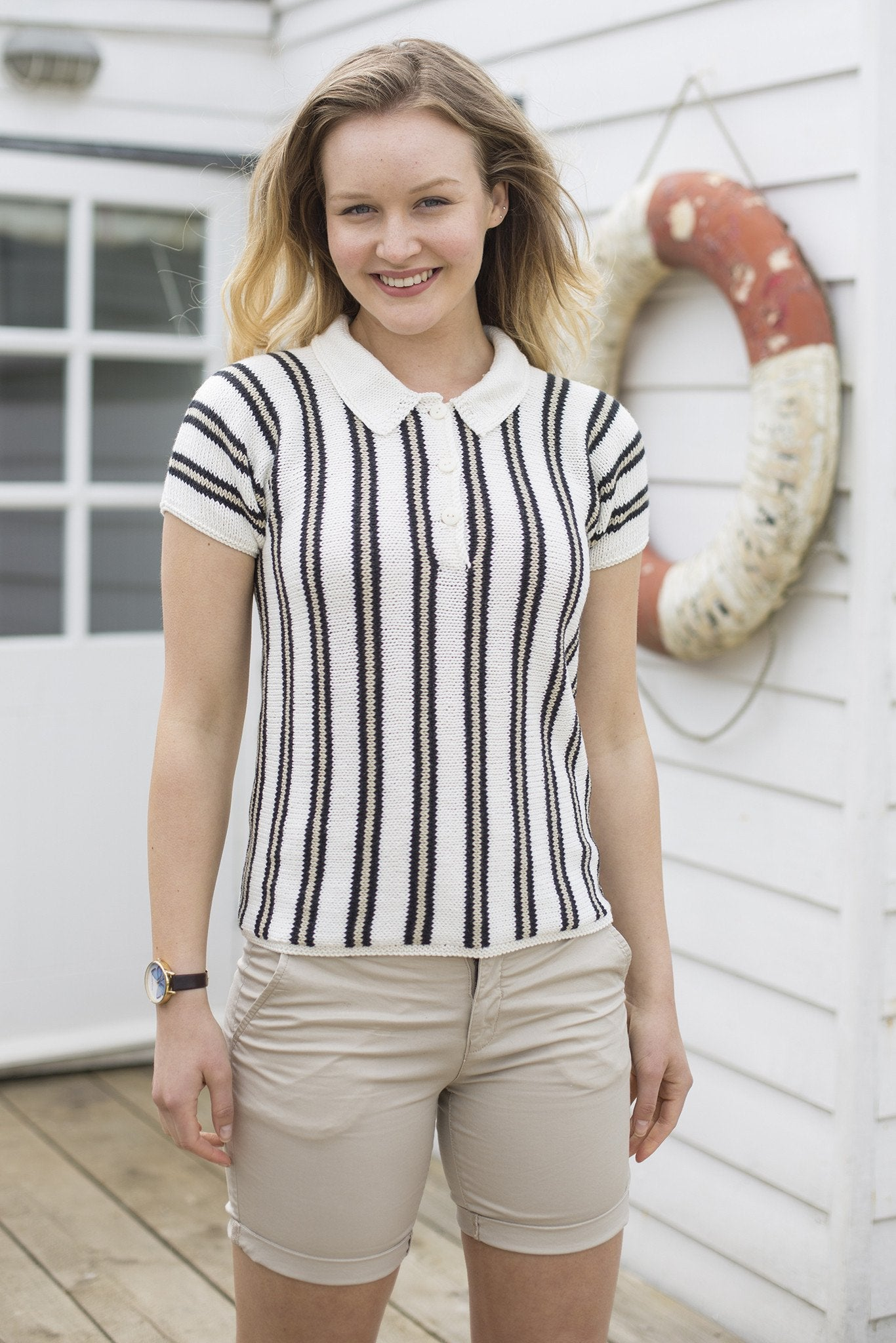 Womens Preppy Polo Shirt Knitting Pattern The Knitting Network