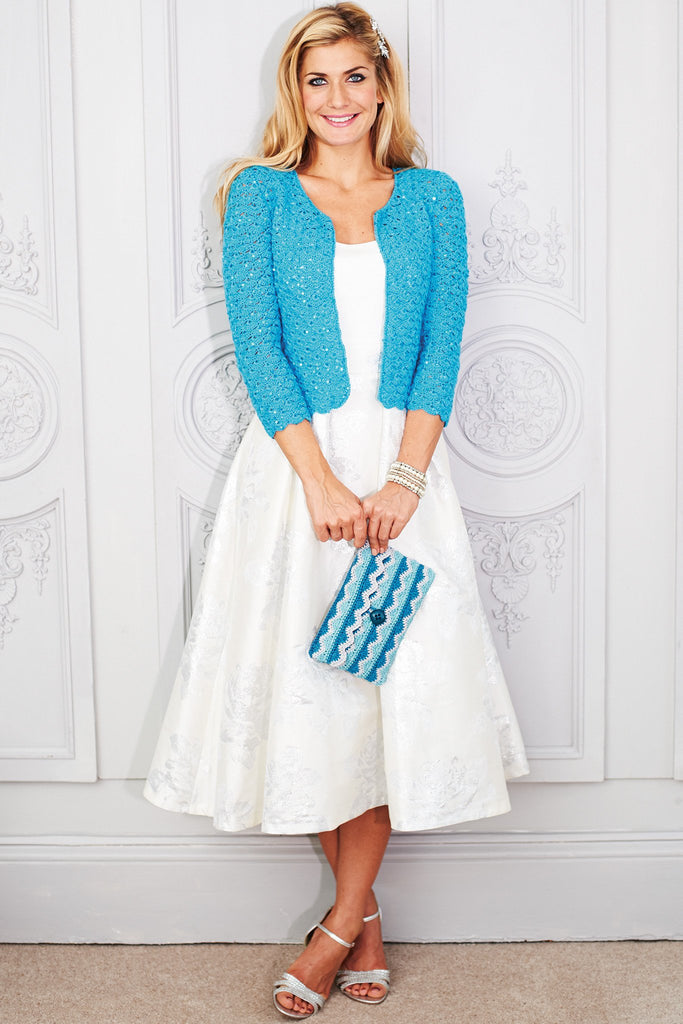 Crocheted ladies' jacket cardigan with open front