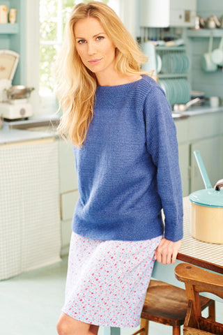Ladies'knitted jumper with garter stitch welt along slash neck