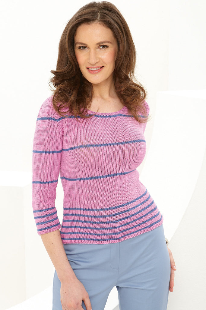 Three-quarter sleeved ladies' jumper with narrow stripes