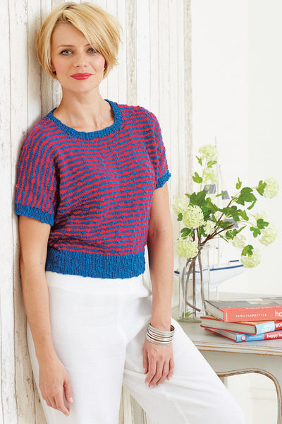 Womens Vintage Striped Sweater Knitting Pattern The