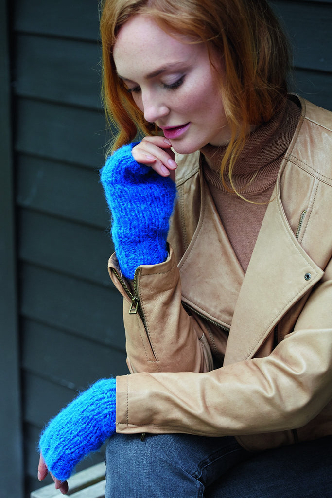 Knitted electric blue wrist warmers for women