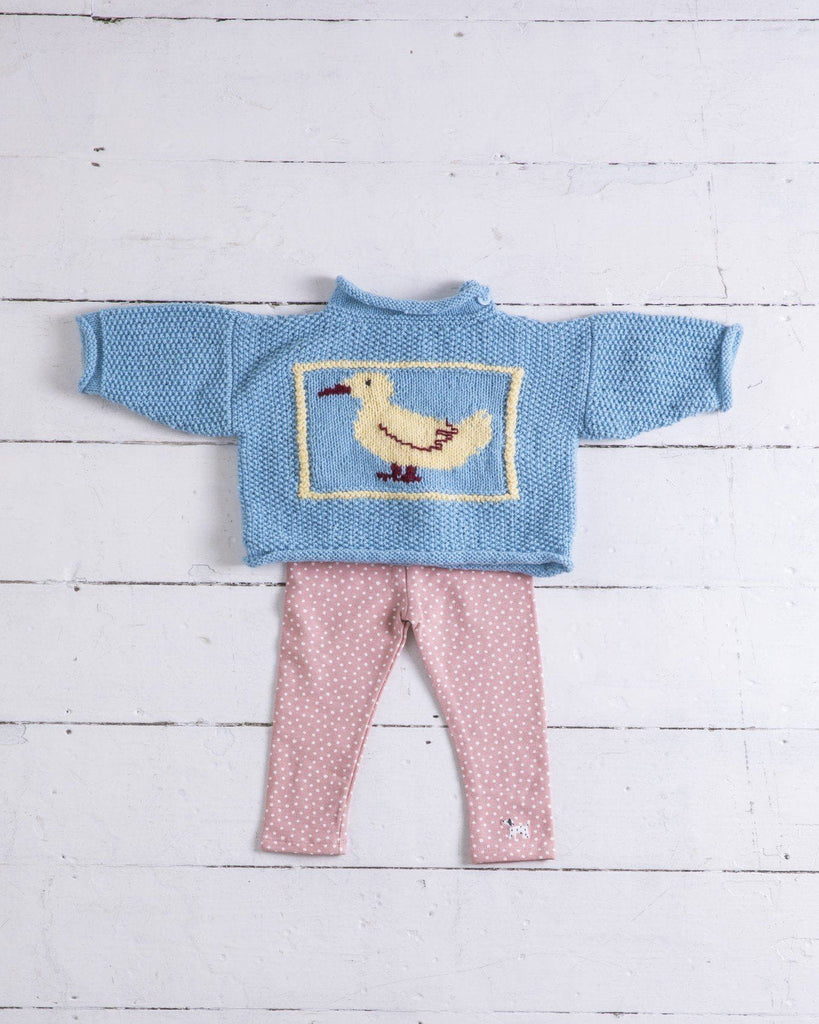 baby jumper with duck motif on front and quack on back
