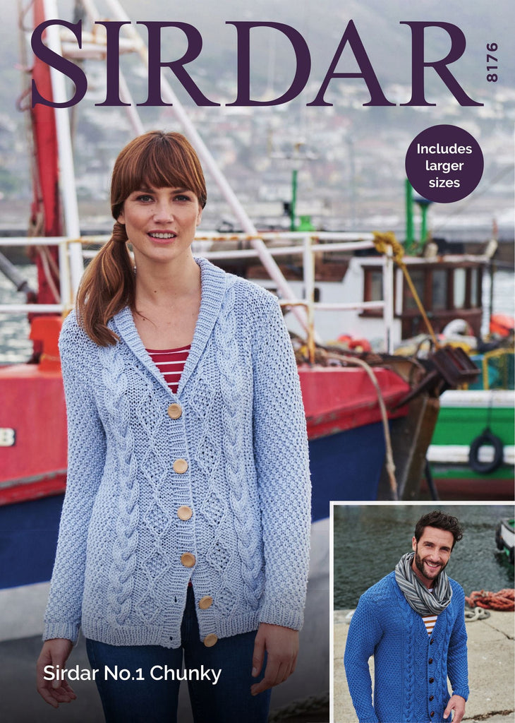 His and Her Cardigan in Sirdar No.1 Chunky (8176)