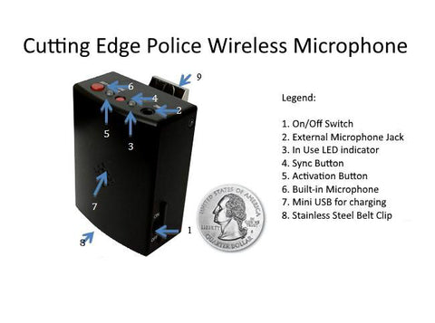 Police in-car video camera wireless microphone