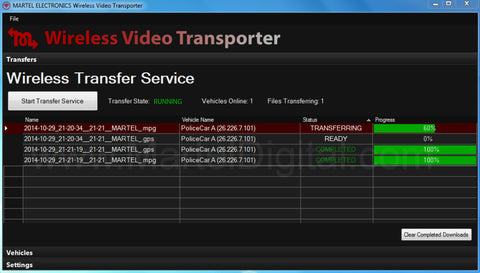 Police in-car camera wifi video uploading software via wifi network