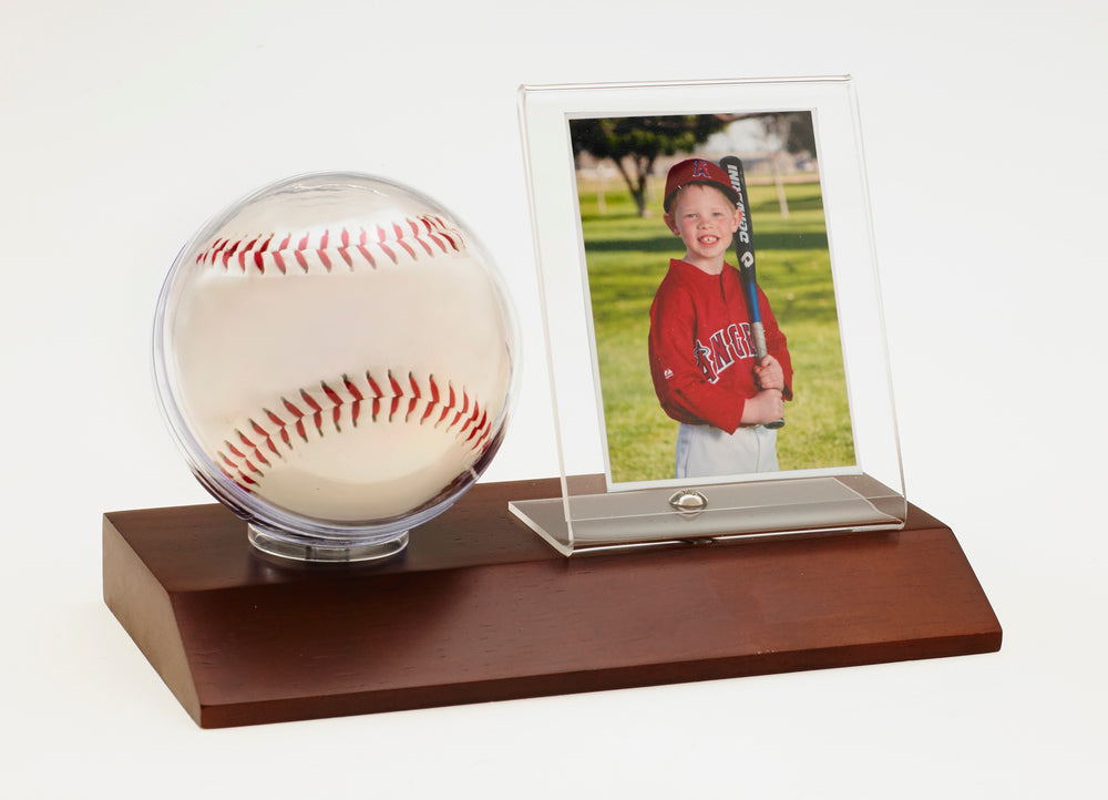 Baseball & Card Holder - Dark Wood