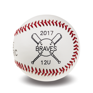 Engraved Baseball | Crossed Bat Graphic