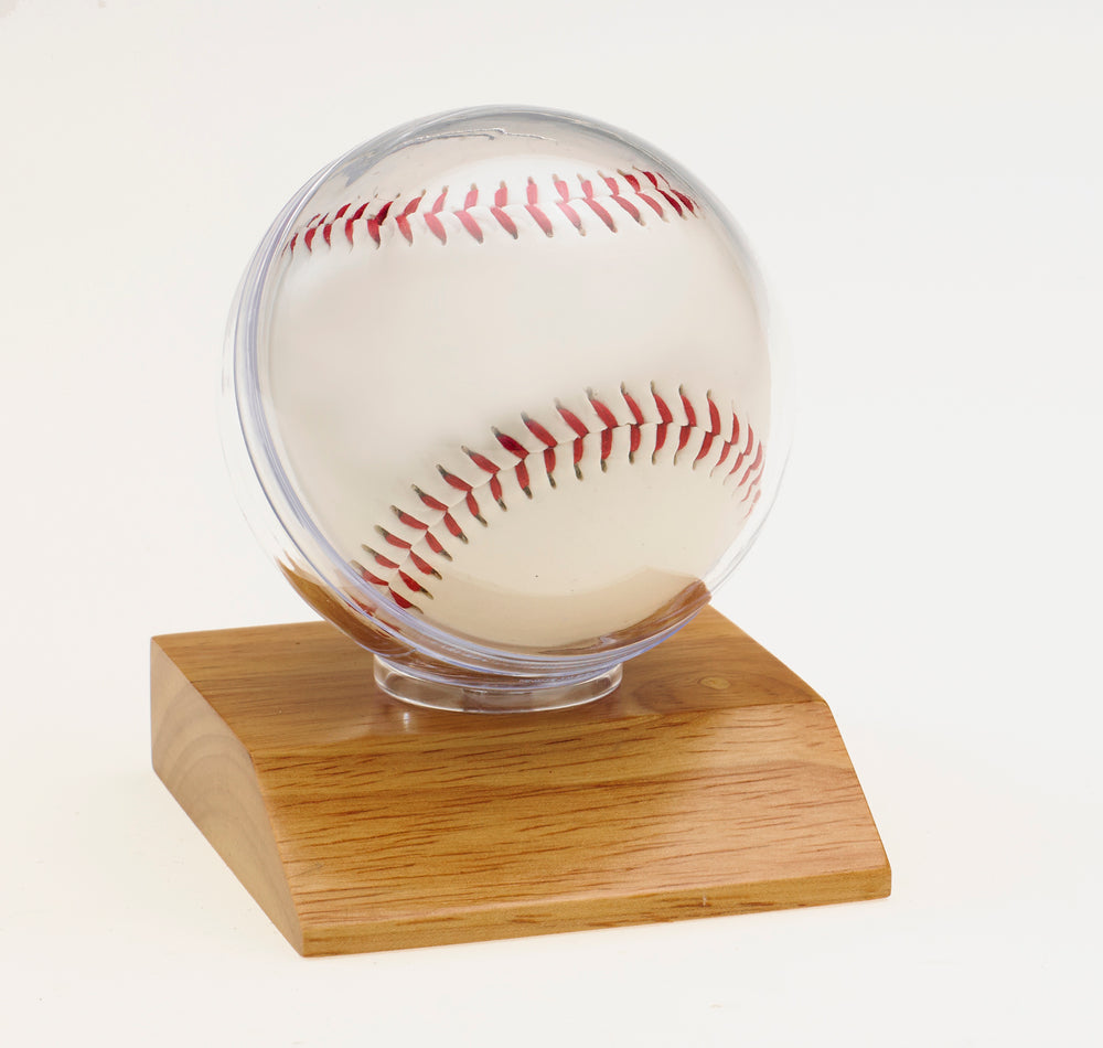 Baseball on Light Wood Base