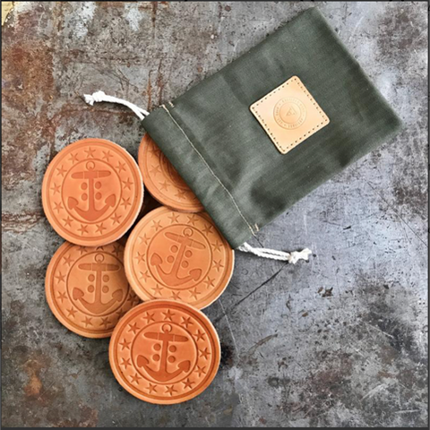 Artifact Handmade Leather Drink Coasters-Grayers