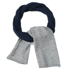 Textured Block Scarf - Navy/Gray Heather