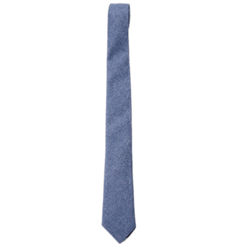 Brushed Chambray Cotton Tie - Denim Blue Chambray