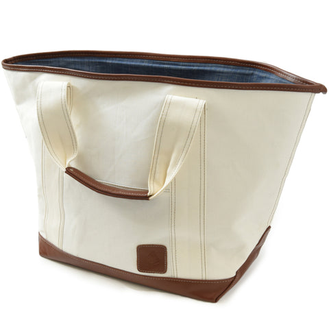 Greenwich Canvas Tote Bag - Cream with Light Brown Leather Trim