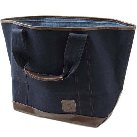Greenwich Canvas Tote Bag - Mood Indigo with Dark Brown Leather Trim
