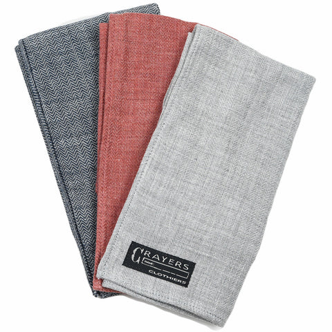 Herringbone Double Cloth Pocket Square - Red, Navy, Gray