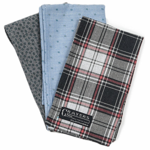 Patterned Pocket Square - 2 print, 1 plaid