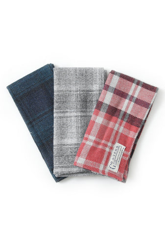 Flannel Pocket Squares (3 in 1) - Mixed Plaid