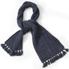 Wadsworth Wool Linen Cable Scarf - Navy