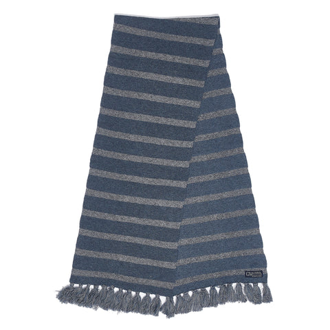 Joseph Textured Stripe Scarf - Navy Marl Stripe-Grayers