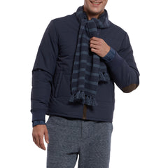 Joseph Textured Stripe Scarf - Navy Stripe-Grayers