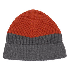 Joseph Color Blocked Beanie - Burnt Orange / Gray