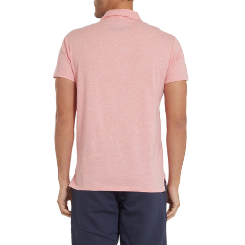 Hartford Nep Heather Jersey Polo - Coral