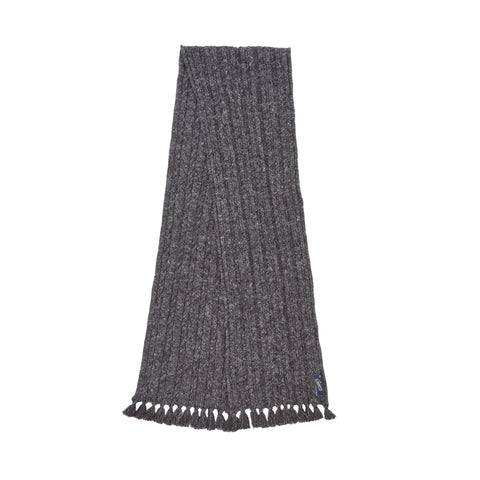 Knitted Cable Wool Linen Scarf - Charcoal