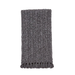 Knitted Cable Wool Linen Scarf - Charcoal-Grayers