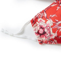 Tropical Red Print 3-ply Face Mask - Pack of 5