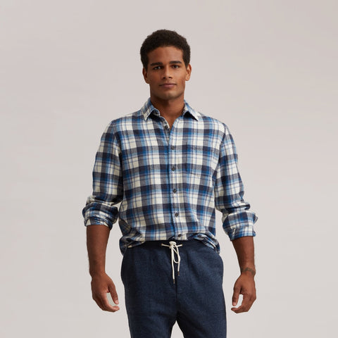 Ridgway 3 Ply Jaspe - Indigo Cream Plaid