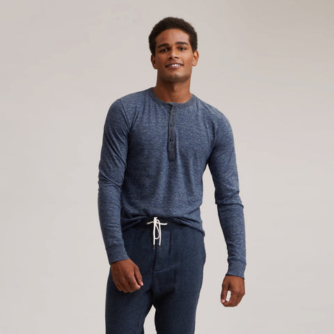 Todd Slub Jersey Henley - Blue Heather