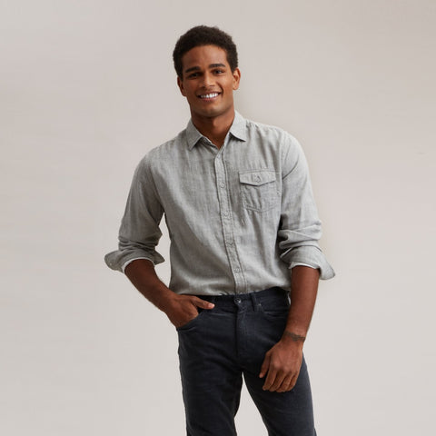 Hartford Double Cloth Shirt - Charcoal Heather