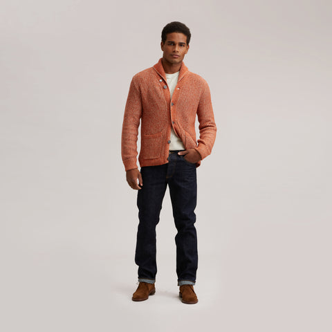 Belmont Plaited Cardigan Sweater - Burnt Orange
