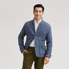 Albemarle Herringbone Knit Blazer - Navy Heather Herringbone