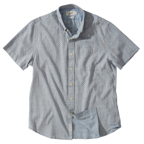 Ahab Printed Summer Twill Short Sleeve Shirt - Blue Print