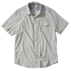 Horizon  Summer Twill Short Sleeve Shirt - Blue Cream Stripe
