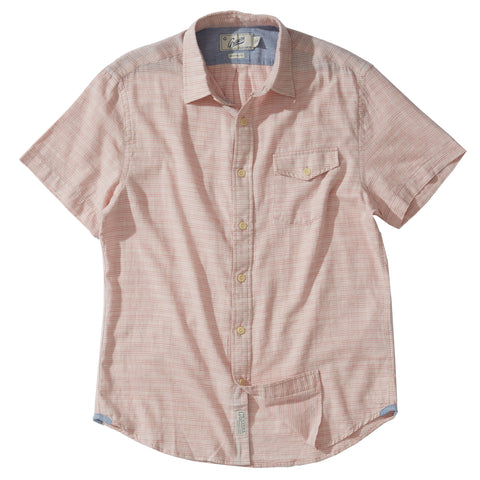 Horizon Summer Twill Short Sleeve Shirt - Melon Cream Stripe