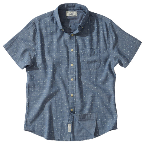 Falling Apple Printed Slub Twill Shirt - Blue