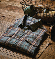 Bilston Stretch Herringbone - Blue Green Plaid