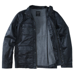 Edgeware Coated Cotton Moto Jacket - Black-Grayers