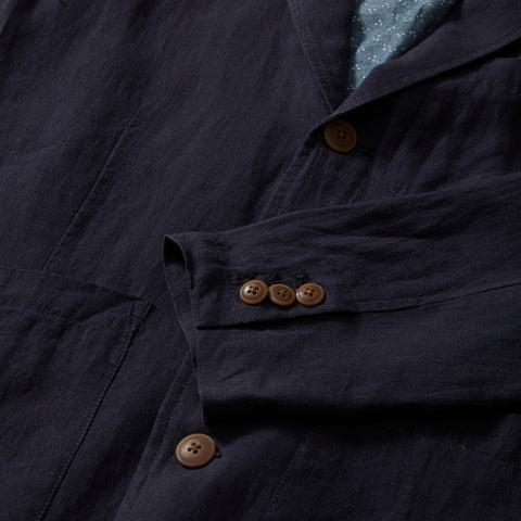 Aventura Washed Linen Blazer - Navy